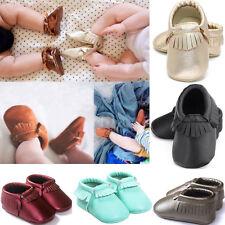 Nouveau Né Garçon Fille Bébé Cuir Souple Chaussures crèche Mocassin GLAND