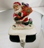 SANTA w/ BAG OF TOYS on Roof CHRISTMAS  STOCKING HANGER HOLDER Resin w/cast base