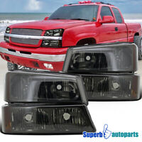 Smoke 2003-2006 Chevy Silverado Headlights+Signal Bumper Lights Lamps 4PC