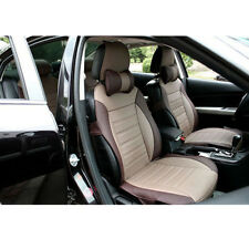 Front+Rear 5 seat Genenal Car Seat Cover PU Leather Fit for all car Khaki Brown