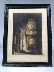 """James Alphege Brewer Signed Rheims Cathedral Etching 12.5""""x16.5"""" Framed"""