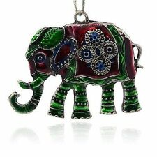 2pcs Colorful Elephant Necklace Alloy Enamel Pendant Antique Silver ENAM-M001-23
