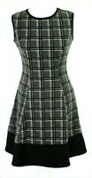 Quiz Womens Check Grey Black Fit & Flare Stretch Sleeveless Party Dress UK 12