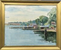 Oil Painting Boats At Shore Port Maritime Monogram Jetty Beach 20 7/8x25 5/8in