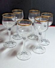 6 VINTAGE COLLECTIBLE GOLD RIMMED CORDIAL DRINK GLASS HOME BAR DECOR