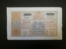 "Bank of Scotland £5 Banknote Date - 5/10/1937 Condition ""GVF"""