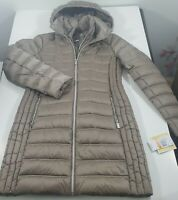 Michael Kors Packable Hooded Long Lightweight Down Jacket Taupe size S