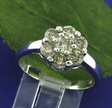 1.35 ct 14k Solid White gold ladies  Champagne Diamond ring Cluster Pre owned