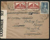 Algeria, 1943 World War II Censored Cover, Sent to Paris and Forwarded to Geneva