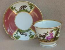 Antique Russian Gardner porcelain Tasse & Soucoupe Peint à la main début 19 Cen