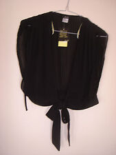 BARDOT BLACK PLEATED TIE UP TOP  SIZE 10 RRP. $69.95
