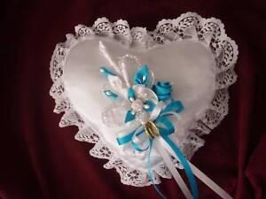 Wedding ring bearer boy heart pillow purple white ivory custom made any color