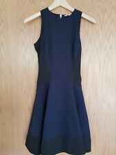Ted Baker Black Neoprene Skater Navy  Dress Size 0 Uk6  RRP £129 Rose Gold Zip
