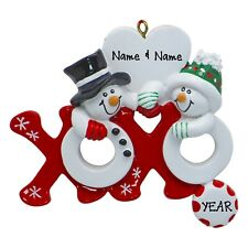 PERSONALIZED Snow Couple Hugs & Kisses Christmas Ornament 2019 Holiday Gift