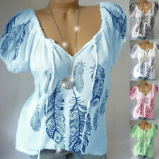 Womens Plus Size Lace Up Print Blouse Tops Ladies Casual Loose T Shirt Pullover