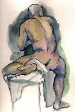 ACEO Nude Male Watercolor Painting PRINT,ATC,Sitting Nude,handsigned mini print
