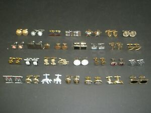 -30 LOT Vintage 28 pair Cuff Links 1 tack & 1 bar swank hickok anson (30a)