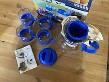 NEW ICED & HOT Tea Glass 7pc Set TEAPOT & CUPS ICE CUBE TEA STRAINER Fire & Ice