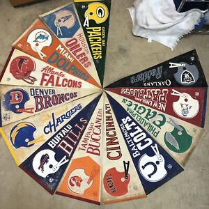 NFL Pennant Lot Of 13 Vintage Raiders Oilers Colts 60s 70s