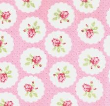 Tanya Whelan Lulu Roses Lotti Rose Buds & Red Pin Dots on Pink Fabric – FQ
