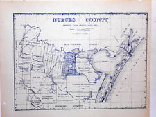 Old Nueces County Texas Land Office Owner Map Corpus Christi Aransas Pass Bishop