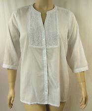 BeMe White Fine Cotton 3/4 Sleeve Button Up  Tunic Top Plus Size 16 BNWOT # F95