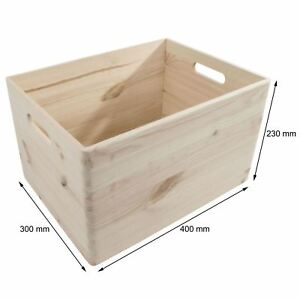 XLarge Wooden Storage Box With Handles /40x30x23cm/ Natural Pinewood For Craft
