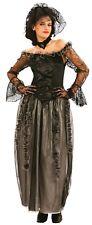Ladies Long Black Widowed Dead Bride Halloween Fancy Dress Costume Outfit 10-14