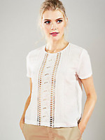 French Connection Size 12 Summer White Broidery Tee Beads TOP Occasion Party £75