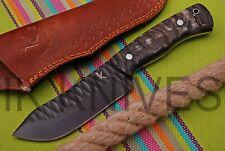 1873 CUSTOM MADE D 2 STEEL BUSH CRAFT KNIFE | FULL TANG | SHEEP HORN