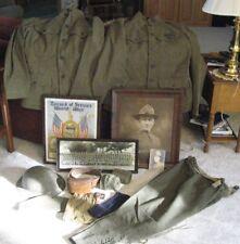 Large Lot of WWI US Army Uniform Jackets Helmet Shirts Pants Doughboy hat Army P