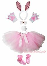 Easter Light Pink Bling Bunny Headband Bow Tail Paw Shoes Skirt 6pc Kids Costume