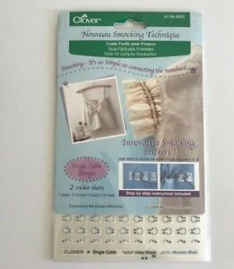 Smocking Stickers By Clover Single Cable Design Stickers & Instructions  NIP
