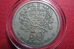 PORTUGAL,  1951  Republika Portuguesa  50  CENTAVOS Silver Coin, Extra Fine