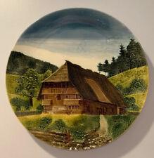 "Vintage German Schwarzwald Baden G S Zell 15-7/8"" Wall Plate Farm Signed Germany"