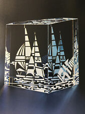 NEW in BOX Art Glass STEUBEN SAILBOAT Nautical Prism Crystal Love HEART Rare