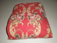 Ralph Lauren Danielle Marseilles TWIN Fitted Sheet Floral Red French Cotton