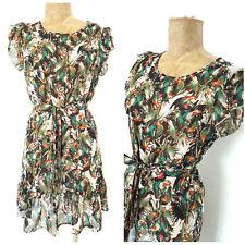 Belle de Jour Dress Size Medium Birds Sheer Ruffle Hem Belted BOHO Anthropologie