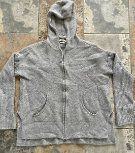 Gray Ugg Zip Up Hooded 100% Sweater, Pure Cashmere, Front Pockets, Preowned