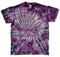Black & Purple TIE DYE T SHIRT Top Tee Hipster Fashion Tye Die Tshirt Festival