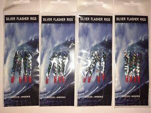 Mackerel silver flasher rigs feathers sea fishing 4 Packs Lure. 4 hooks size 2/0