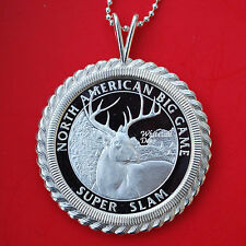 North American Hunting Club Big Game 1 oz Silver Coin Necklace Whitetail Deer