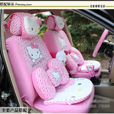 ** 21 Piece Light Pink Bow Hello Kitty Full Car Accessary Cover Set **