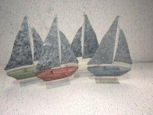 Set of 4 Wooden Nautical Sailboat Decor Tabletop Decor
