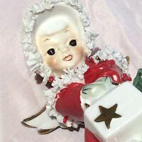 "Vintage Christmas Angel Spaghetti Trim Porcelain Figurine Red Green Gold 4"" Tall"