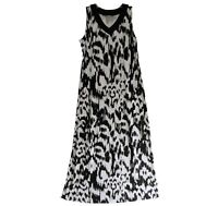 Chico Dress Size 1 Black White Animal Print Sleeveless Maxi Long Length Tribal