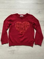 H&M Girls Sequin Heart Christmas Jumper Age 2-4 Years