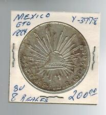 1884 Mexico 8 Reales GTO Y 3778 SIlver Coin