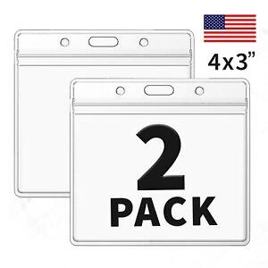 2 PCS WATERPROOF 4x3 Vaccine Card Holder ZIP Sleeve Vaccination ID Protector