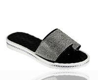 Ladies Beach Summer Sliders Diamante Jelly Flip Flop Sandals Womens Shoes Size